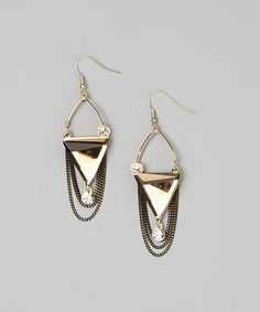 Look what I found on #zulily! Topaz Triangle & Chain Drop Earrings #zulilyfinds