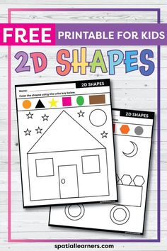 These FREE printable worksheets for kids are great for practicing spatial concepts! These shapes worksheets can be used as homework, bell-ringer activity, or warm-up activity. Fun things to do with your kindergarten or grade 1 students! Shapes Worksheets, Free Printable Worksheets, Worksheets For Kids, Free Printables, 2d Shapes Names, Writing Activities, Science Resources, Teaching Resources, Teaching Ideas