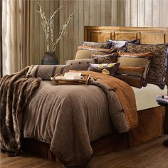 Highland lodge bedding by HiEnd Accents. The warmth and beauty of a rustic cabin is portrayed through this beautiful lodge bedding set, with its calming earth tones & natural colors to remind you of the beautiful outdoors. Rustic Bedding Sets, Queen Bedding Sets, Luxury Bedding Sets, Comforter Sets, Western Bedding, Country Bedding, Bedroom Furniture, Bedroom Decor, Lodge Bedroom