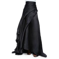 Rubin Singer Side-Draped Silk Ball Skirt (181.065 RUB) ❤ liked on Polyvore featuring skirts, black, long silk skirt, draped skirts, rubin singer, floral skirt and long draped skirt