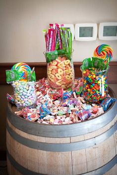 Sugar Rush Anyone. Candy Table, Candy Buffet, Graduation Food, Candy Land Theme, Sweet Carts, Candy Display, Rock Star Party, Sweet Sixteen Parties, Little Pony Party