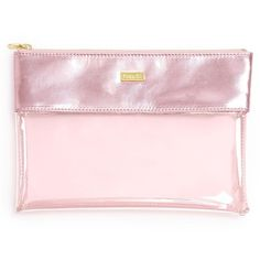 Ban.do Peek A Boo Clutch ($24) ❤ liked on Polyvore featuring bags, handbags, clutches, pink shimmer, metallic clutches, pink purse, transparent handbags, see through purse and pink clutches