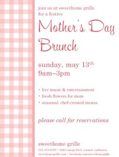 Motheru0027s Day Promo #MothersDay #flyer #brunch #event #spring #pink #