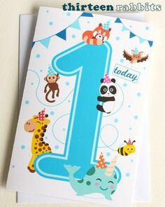 Children's Personalised Birthday Age by thirteenrabbits, Animal Birthday, Kids Cards, Birthday Cards, Age, Handmade Gifts, Animals, Etsy, Bday Cards, Kid Craft Gifts