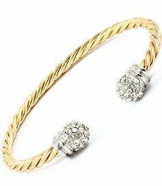 Gold Twist Crystal Stud Cuff Bracelet In Fashion Design. $12.99