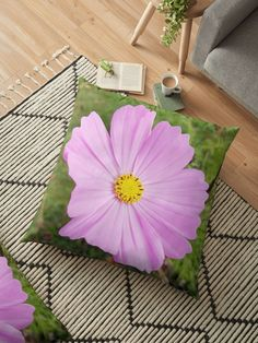 'Winter Cosmos Flower in Pink 3 ' Floor Pillow by ellenhenry Throw Pillows Bed, Bed Throws, Floor Pillows, Decorative Throw Pillows, Cushion Covers, Pillow Covers, Floral Cushions, Cosmos, Wall Tapestry