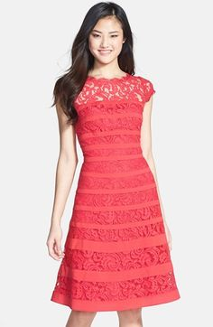 Adrianna Papell Banded Lace Fit Flare Dress (Regular Petite) available at Dress Me Up, I Dress, Party Dress, Pretty Outfits, Cute Outfits, Casual Dresses, Short Dresses, Lovely Dresses, Fit Flare Dress