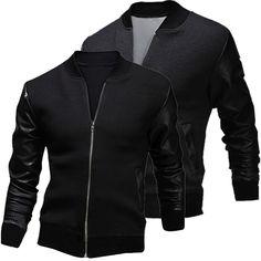 Sale 22% (19.99$) - Mens Zipper PU Leather Stitching Slim Fit Baseball Coat Jacket
