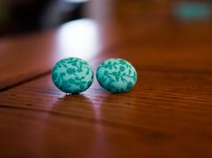 """Vintage Style Floral Mint Green Fabric Covered Button Earrings  (5/8"""") other sizes, and fabric variations available"""