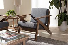 Baxton Studio Cayla Grey & Walnut Brown Wood Living Room 1-Seater Lounge Chair