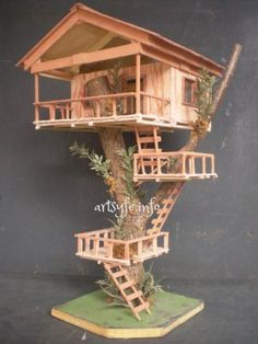 Love!!! Cant wait to try! popsicle stick tree house | Creations Collections - DIY Fairy Gardens