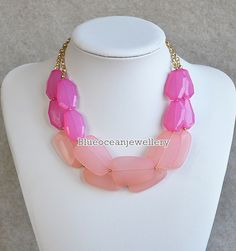 2 layer Pink Necklace Bib Necklace Statement by Blueoceanjewellery, $14.90
