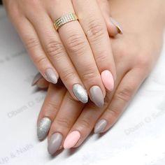 Beautiful, delicate hybrid manicure made by Dbam o Siebie z BIRD Make-up & Nails Semilac: 144,140,130