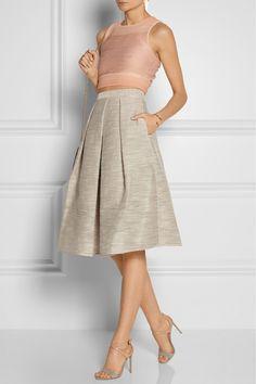 Tibi|Embroidered organza midi skirt|Jennifer Fisher earrings| Jonathan Simkhai top| Chloe bracelet| Reed Krakoff shoes| Stella McCartney