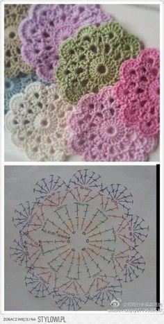 "Delicadezas ""Crochet Flower Coaster - with Diagram"", ""Crochet - coasters pattern (instructions in Russian)"", ""Free crochet coaster pattern using one Crochet Diy, Mandala Au Crochet, Crochet Motifs, Crochet Flower Patterns, Crochet Squares, Love Crochet, Crochet Designs, Crochet Doilies, Crochet Flowers"