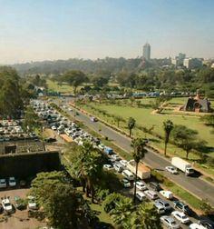 View from Capitol Hill of a traffic snarl-up on Uhuru Highway, Nairobi, Kenya.