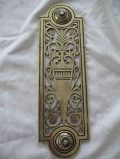 Large old antique reclaim Victorian Rococo solid brass door handle push plate & VINTAGE BRASS DOOR FINGER PLATE PUSH DOOR HANDLE | VICTORIAN DOOR ...