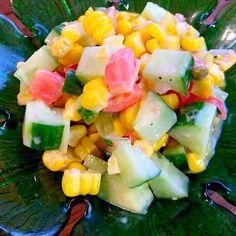 ぷりっぷりの甘いコーンGetで簡単サラダに - 63件のもぐもぐ - Today's Salad❗️トマト・キュウリ・コーンのキューブサラダ by honeybunnyb