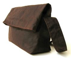 Minus fold top in dark brown waxed canvas by minus on Etsy, $86.00