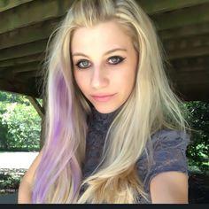 Lavender/purple streak in blonde hair