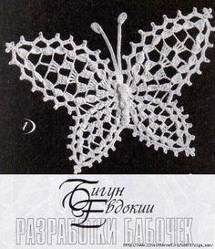 farfalle all'uncinetto con schemi