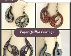 DIY - Make your own paper quilled earrings and pendants!  This .pdf tutorial has all the instructions you need to make SEVEN different designs. They are: 1. Small circle earrings 2. Circle chain earrings 3. Medium circle earrings 4. Large circle earrings 5. Long retro circle earrings 6. Random retro circle earrings 7. Retro heart pendant  This listing is for a .pdf file only, not the items, not a kit!  This .pdf pattern includes a cover page and NINTEEN full pages of detailed instructions…
