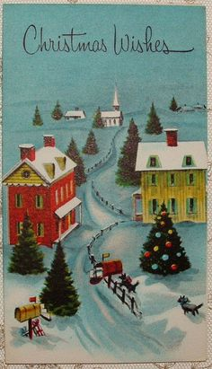 UNUSED - Country Houses & Mailboxes - 50's Vintage Christmas Greeting Card