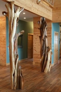Cabin decor, Log Decorative Columns.