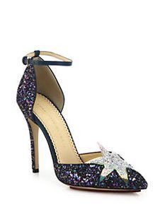 Charlotte Olympia - Twilight Night Sky Glitter Ankle-Strap Pumps