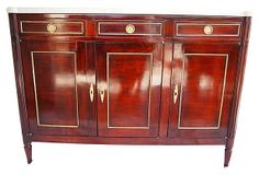 1910-1950 Louis XVI Marble-Top Buffet from France