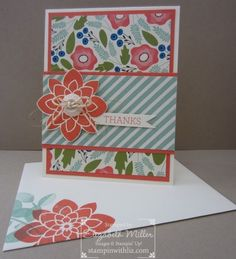 Stampin Up Crazy About You stamp set. Pretty Petals designer paper