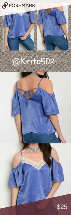 LIGHT BLUE SATIN COLD SHOULDER TOP V-Neck Cold Shoulder Satin Top With Lace Detail. 100% POLYESTER Tops Blouses