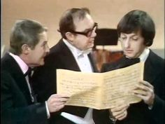 """Morecambe and Wise (video) - Andre Previn sketch    One of the funny things about this routine is the orchestra members laughing in the background.  Love the famous """"right order"""" line"""