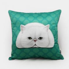 Cat throw pillow for couch Hand Painted blue cushions 18 in
