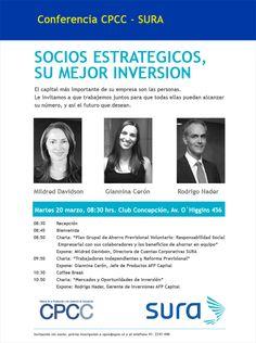 Martes 20 de Marzo / Conferencia CPCC-SURA: Socios estratégicos, su mejor inversión http://www.agendabiobio.cl/2012/03/conferencia-cpcc-sura-socios-estrategicos-su-mejor-inversion.html