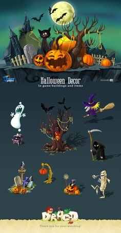 Decorations: In game buildings and items by Just Games, via Behance Bg Design, Game Ui Design, Prop Design, 2d Game Art, Video Game Art, Halloween Flyer, Halloween Art, Technical Artist, Map Games
