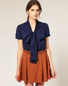 Asos Collection Asos Short Sleeve Pussybow Cotton Blouse in Blue (navy) - Lyst