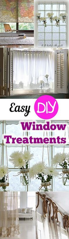 Easy DIY Window Treatments. DIY DIY home projects home décor home dream home DIY. projects home improvement inexpensive home improvement cheap home DIY.