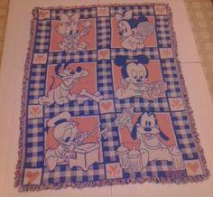 Disney Babies Tapestry Blanket Baby Nursery Throw Mickey Donald Pluto Pink Blue #Disney