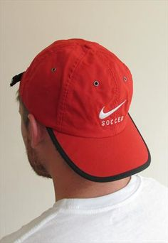 b73d99906bf 90 s Red Nike Soccer Sports Cap from The Wonders of Vintage Soccer Sports