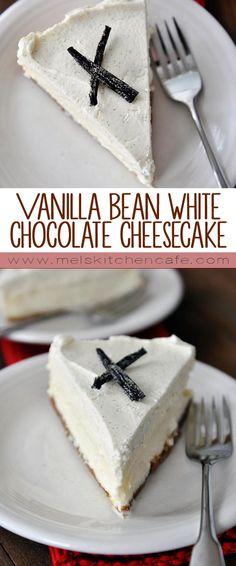 This Vanilla Bean White Chocolate Cheesecake is the creamiest cheesecake I've ever had.
