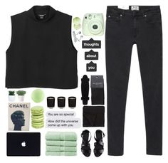 """""""Mint Breaths"""" by trnslucid ❤ liked on Polyvore featuring Acne Studios, Monki, H&M, Chanel, Christy, Morgan Collection, SELECTED, Fuji and Topshop"""