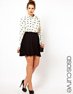 Enlarge ASOS CURVE Exclusive Skater Skirt In Jersey