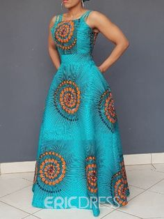 Ericdress African Fashion Expansion Floor-Length Sleeveless Dress(Without Crinoline), Latest African Fashion Dresses, African Dresses For Women, African Print Dresses, African Print Fashion, African Attire, African Dress Styles, African Style, Moda Afro, African Traditional Dresses