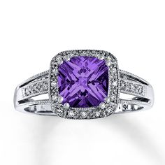 AMETHYST RING CUSHION-CUT WITH DIAMONDS 10K WHITE GOLD