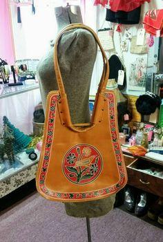 Vintage Purse Boho Faux Leather Handbag w Painted Birds & Flowers South Western Bohemian Style 60's 70's Fashion Accessory Shoulder Bag by OffbeatAvenue on Etsy