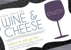 Wine and Cheese Party - Invitation Printable - BriGeeski