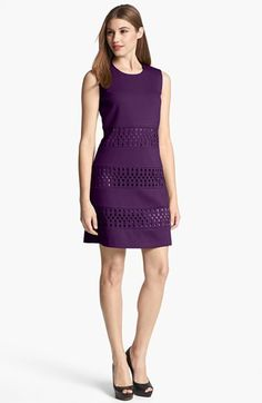 Laundry by Shelli Segal Sleeveless Laser Cut Ponte Shift Dress available at #Nordstrom