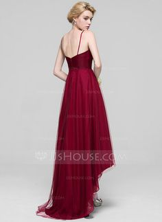 A-Line/Princess V-neck Asymmetrical Ruffle Zipper Up Spaghetti Straps Sleeveless No Burgundy Spring Summer Fall General Plus Tulle Bridesmaid Dress