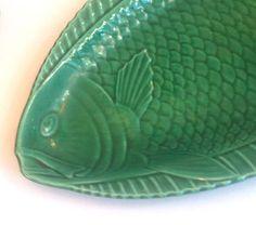 Plat à poisson céramique Sarreguemines vintage 1960